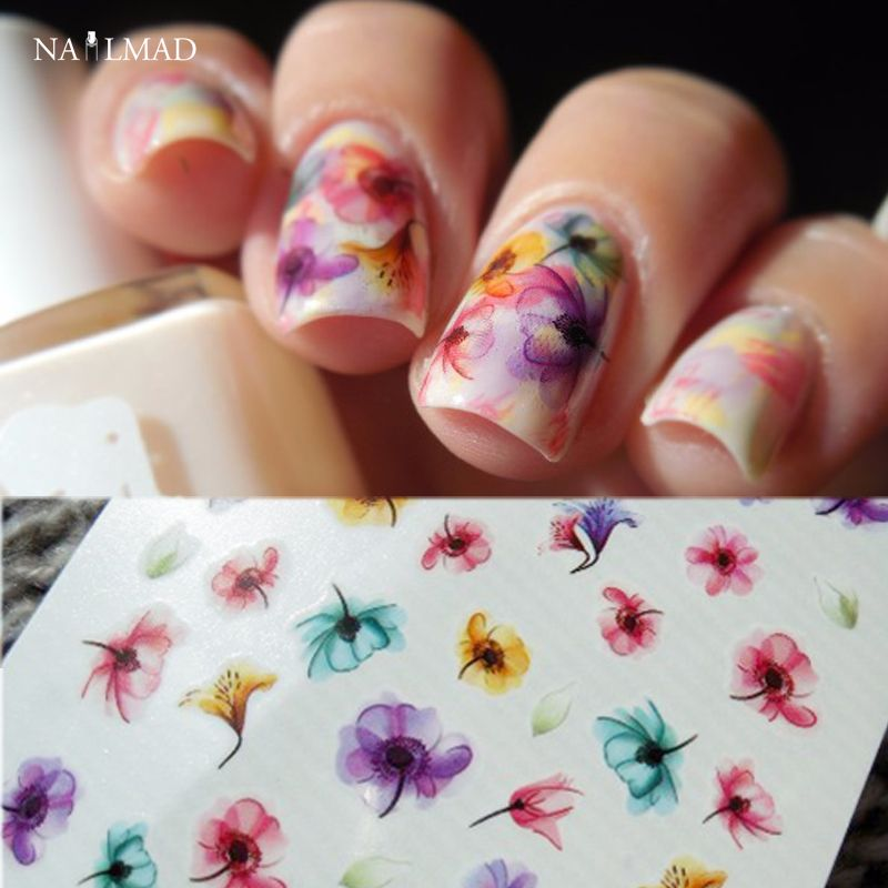 1 sheet Gradient Nail Water Decals Transfer Stickers Colorful Purple ...