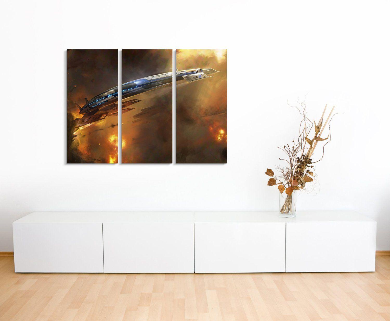 Leinwandbild 3 Teilig Mass_Effect_3_Ship_3x90x40cm (Gesamt 120x90cm)  _Ausführung Schöner Kunstdruck Auf Echter Leinwand Als Wandbild Home Design Ideas