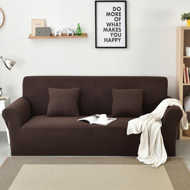 Polar Fleece Fabric Solid Color Sofa Cover Washable Removable