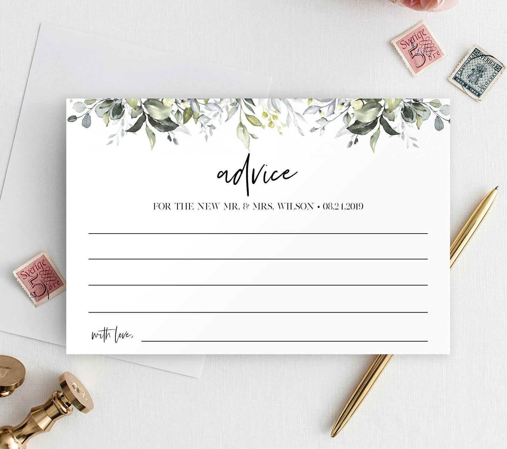 Wedding Advice Card Template Well Wishes Printable Editable Etsy Wedding Advice Cards Marriage Advice Cards Advice Cards