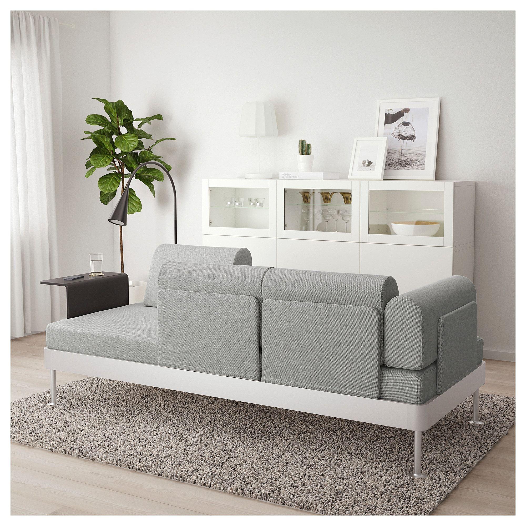 Delaktig 3er Sofa Mit Ablage Und Leuchte Tallmyra Weiss Schwarz Ikea Osterreich 2er Sofa Sofas Fur Kleine Raume Kissen Sofa
