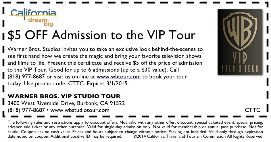 The Warner Brothers Studio Tour Top discount codes we present here can be applied to both online and in-store shopping. As we aim to provide comprehensive coupons including online coupon codes, in-store coupons, printable coupons, special deals, promo codes etc., you can surely find the most suitable ones among the wide range of available deals.