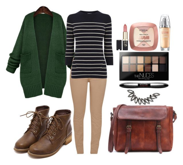 """""""Work #21"""" by sarah-stoner-1 on Polyvore featuring WithChic, Barbour, Warehouse, L'Oréal Paris and Maybelline"""
