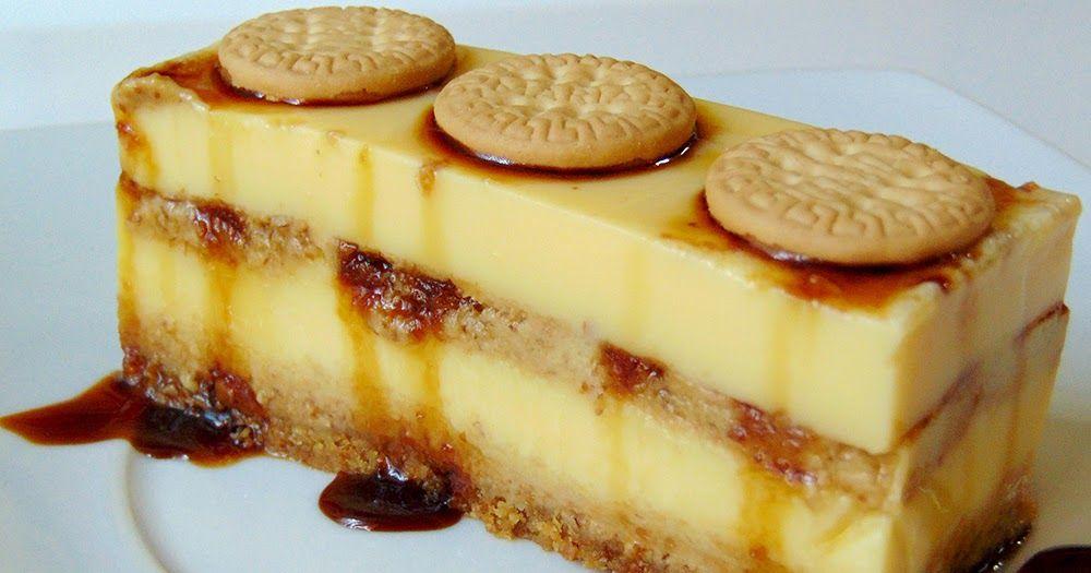 Flan y galletas, una combinación perfecta para este fácil pastel con el que endulzar tus postres de manera vistosa y económica.