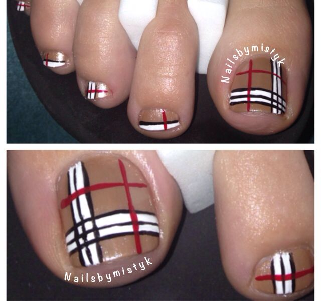 Toe Nail Art Design Ideas For Fall Winter: Christmas Toes. Burberry Nail Art Design. Winter Nail Art