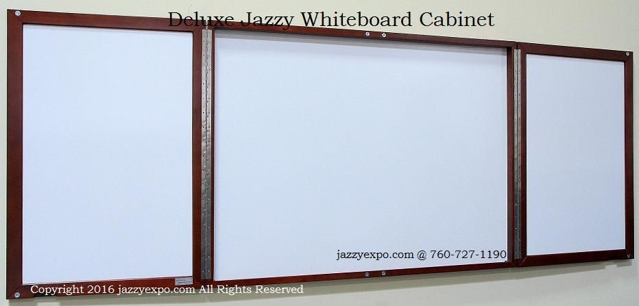 Deluxe Executive Whiteboard In Enclosed Cabinet Opened Up To See