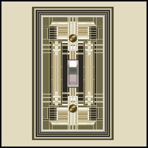 frank lloyd wright inspired switch plate olive by computer artantique