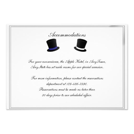 Top hats and bow ties blue gay wedding insert card the best buy cards reheart Gallery