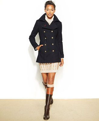 Tommy Hilfiger Double Ted Pea Coat, Tommy Hilfiger Peacoat Women S
