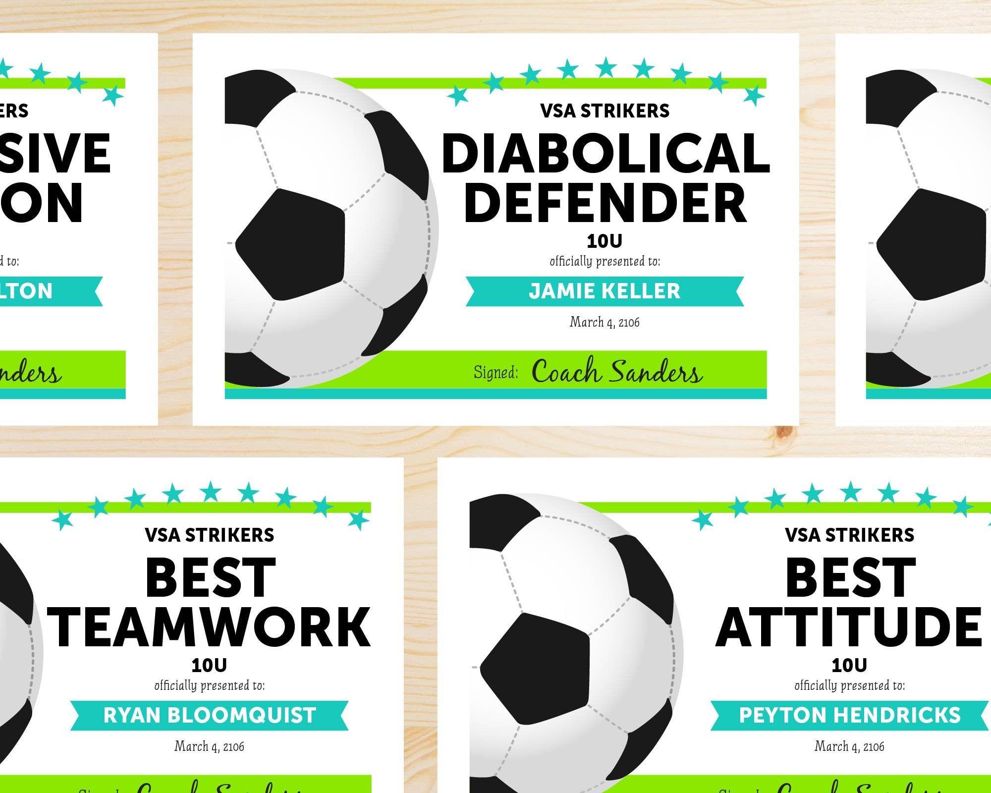 Editable Soccer Award Certificates Instant Download Etsy Soccer Awards Fun Awards Soccer End of season soccer awards ideas