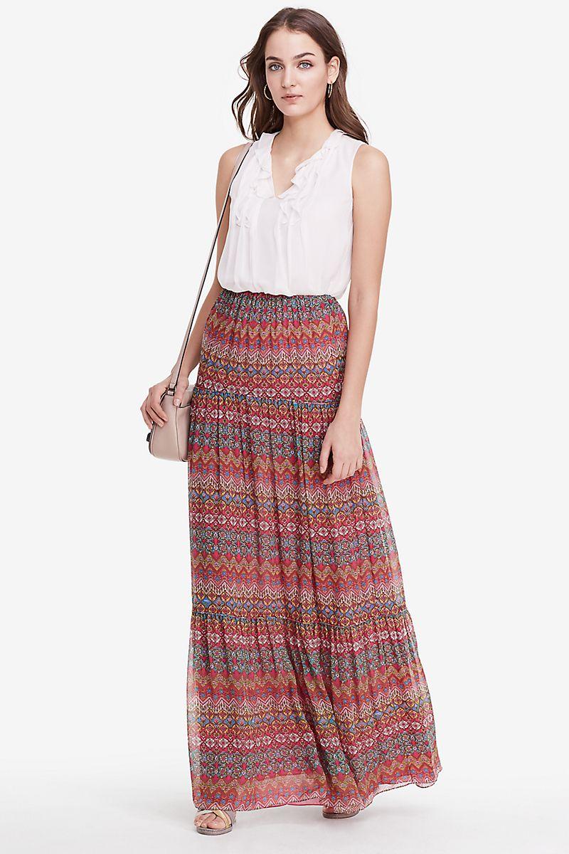 d9f90625cfd89 DVF Baylee Chiffon Maxi Skirt in coromandel multi | Casual