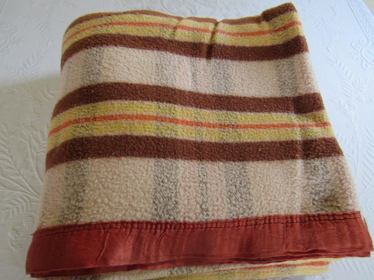 Camp Blankets Vintage 1940s Double Long Cotton Camp Blanket Brown Gold Plaid