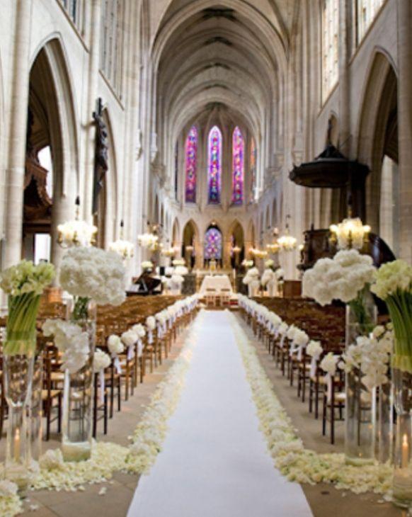 Stylish White Weddings (With images) | Church wedding ...