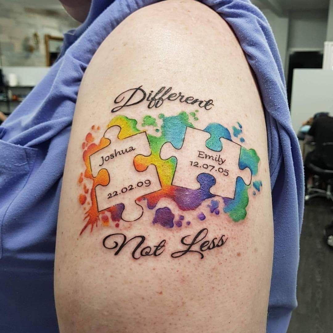 5fb3d86c5b2d1 Watercolor Name and DOB Upper arm Puzzle Piece Tattoo With Sense of  Camaraderie for Couples