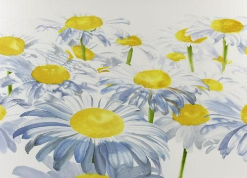 Step 3 of white daisies watercolor painting demonstration