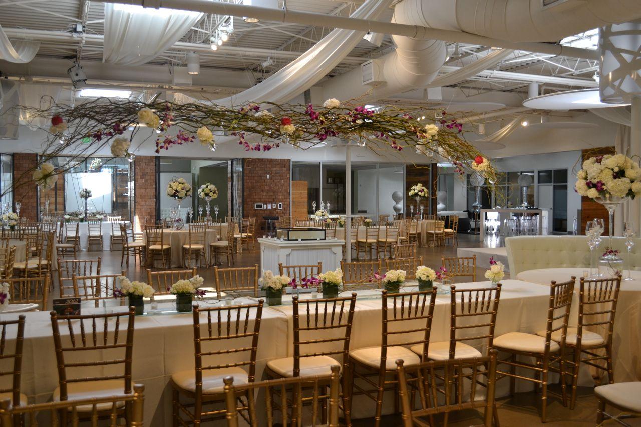 Wedding Reception White Light Canopy Draped Ceiling