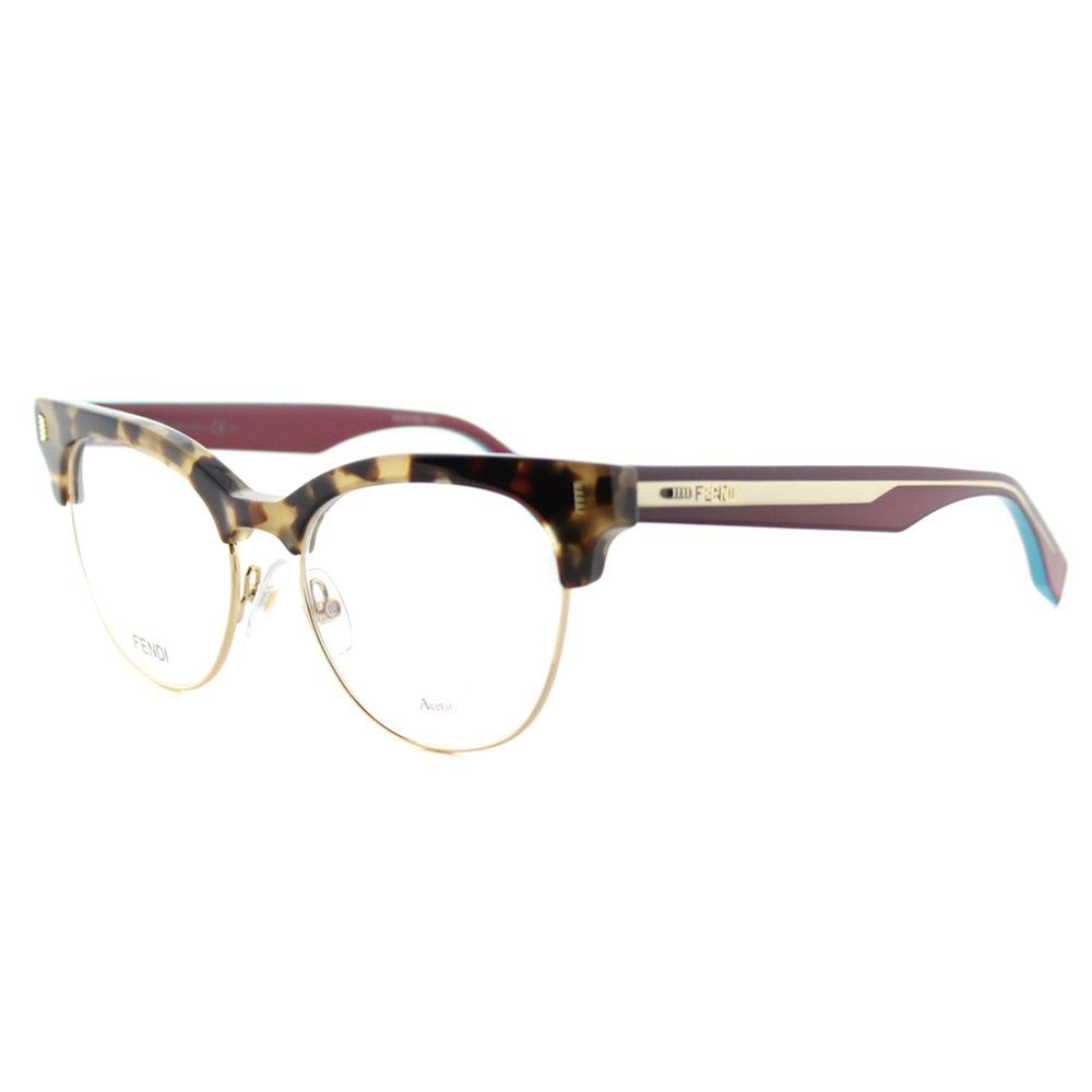 5ed07c2df4f Fendi Women s FF 0163 VHB Havana Cyclamen and Gold 51-millimeter Cat-eye  Eyeglasses