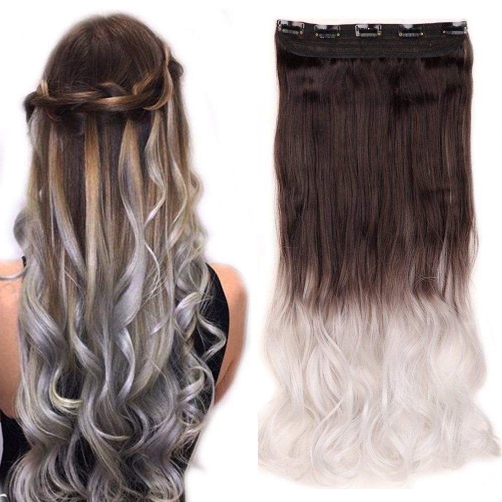 Clip In Hair Extensions Ombre Dip Dye Color Synthetic Hairpiece 2