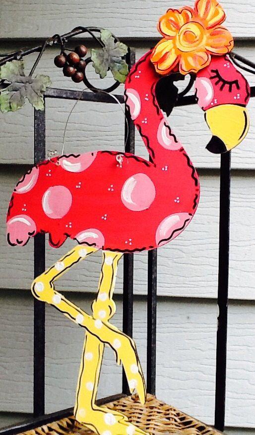 Pink Flamingo Door Sign Zebra Print Flamingo Door Sign