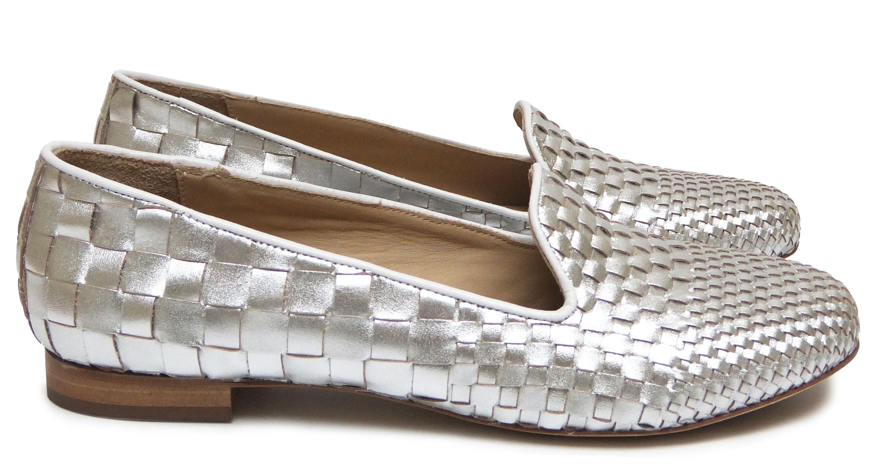 chaussures femme slippers printemps et 2015 maurice manufacture bert cuir tress argent. Black Bedroom Furniture Sets. Home Design Ideas