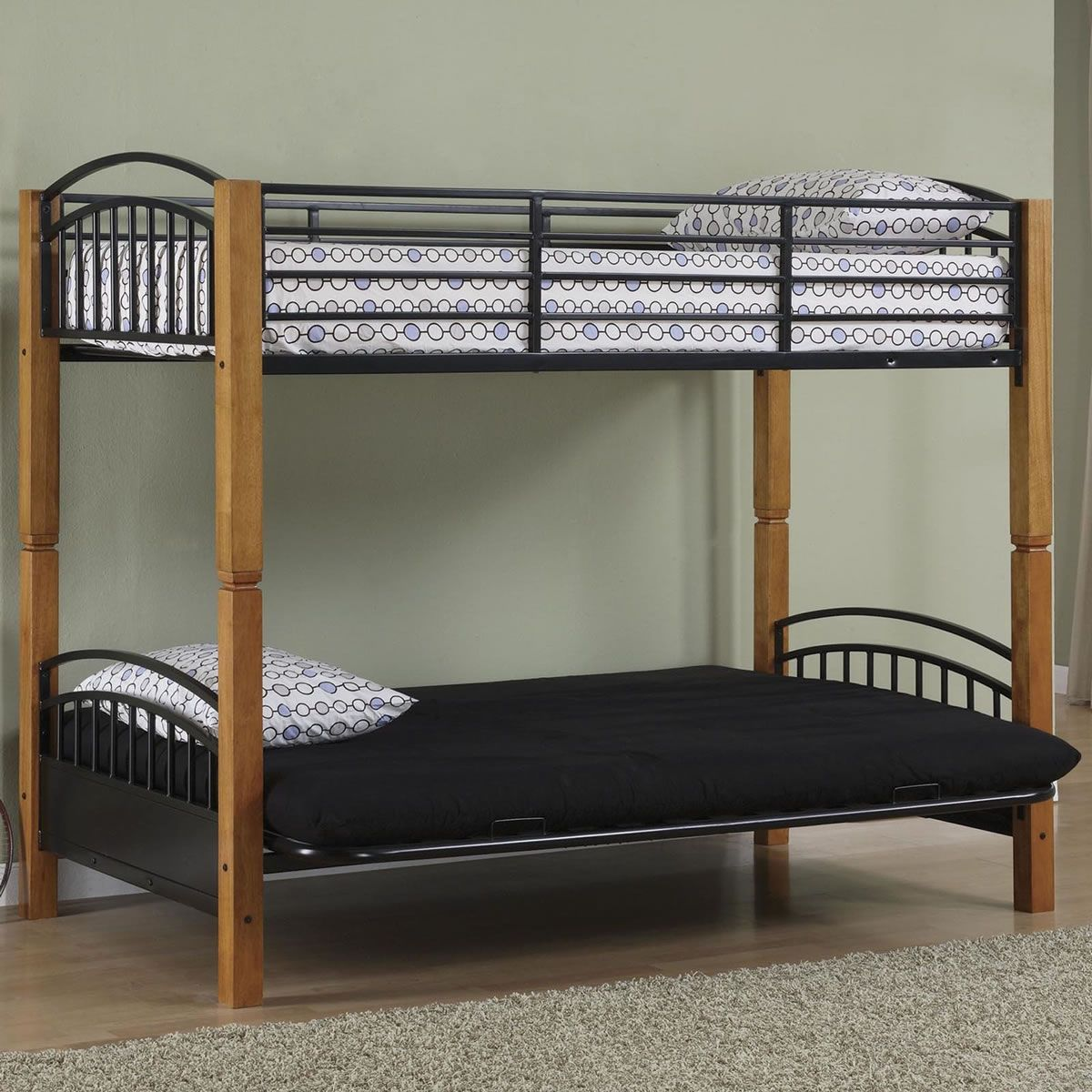 Pipe Loft Bed Powell Matte Black And Country Pine Twin Over Futon Metal Bunk