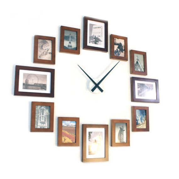 Picture Frame Wall Clock Brown 12 By Homeloo On Etsy Frames On Wall Picture Frame Wall Wall Clock Modern