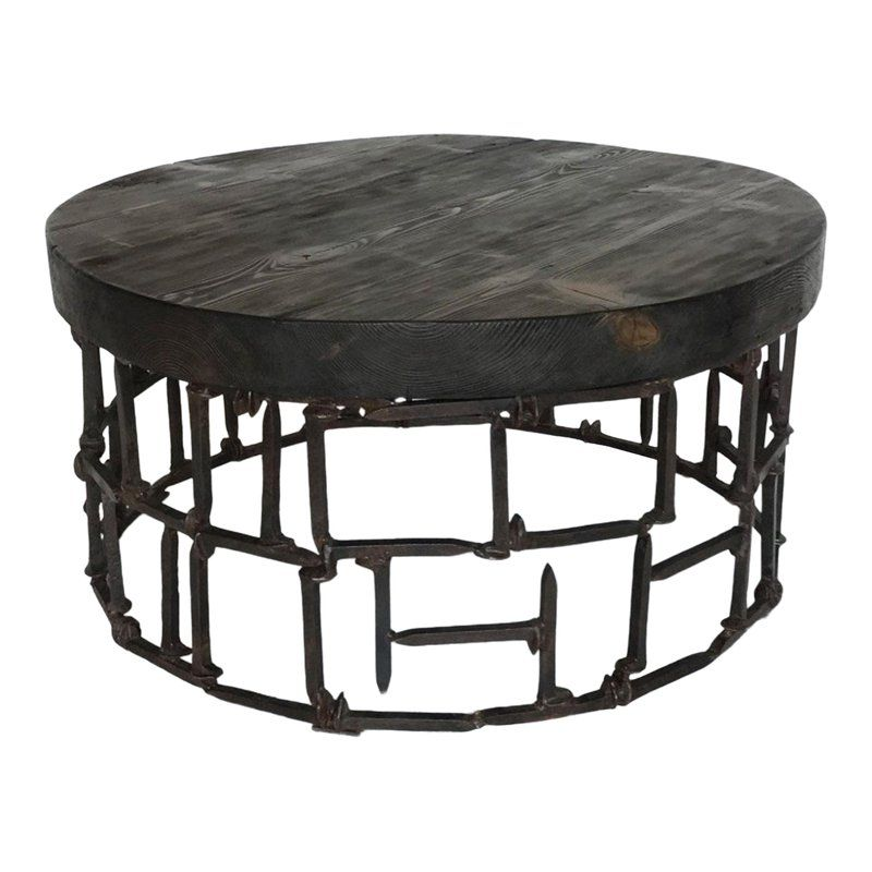 Best Round Vintage Railroad Spike Coffee Table In 2020 400 x 300