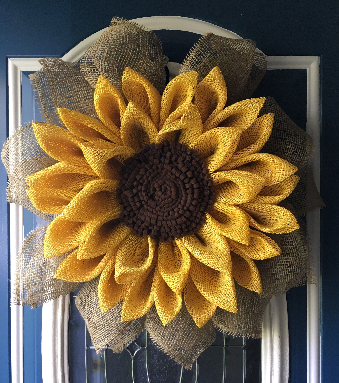Fall Sunflower Wreath Poly Burlap Flower Wreath