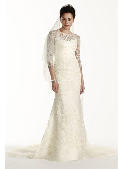 Oleg Cassini Tulle Wedding Dress with 3/4 Sleeves CWG710 | wedding ...