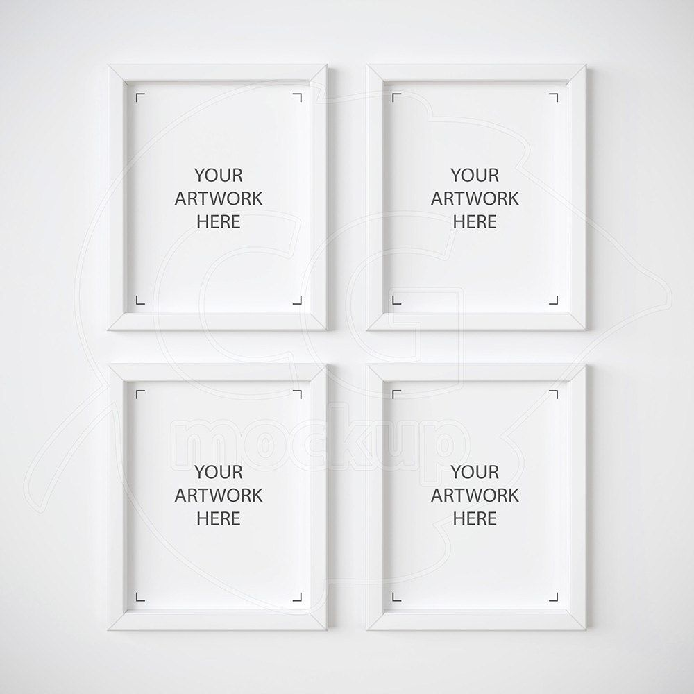 set of 4 mockup 8x10 frame mockup white frame mockups digital product mock