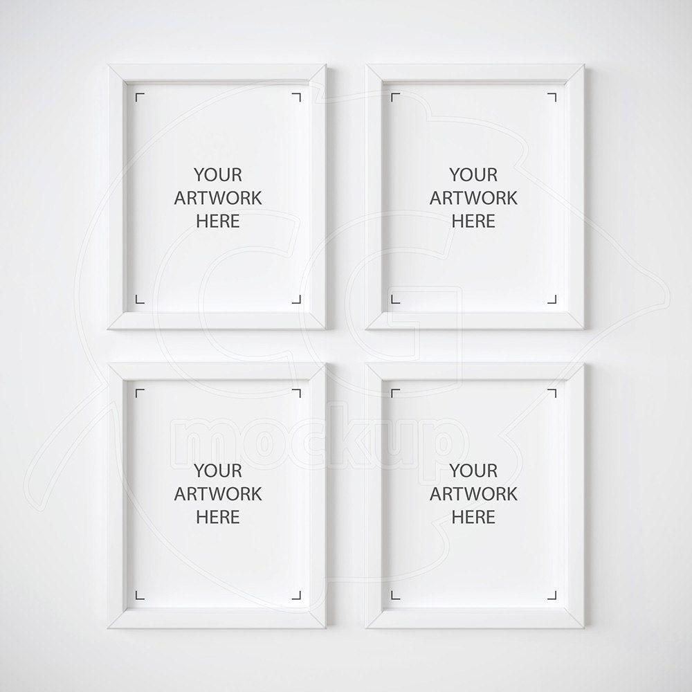 Set of 4 mockup, 8x10 frame mockup, White frame mockups, Digital ...