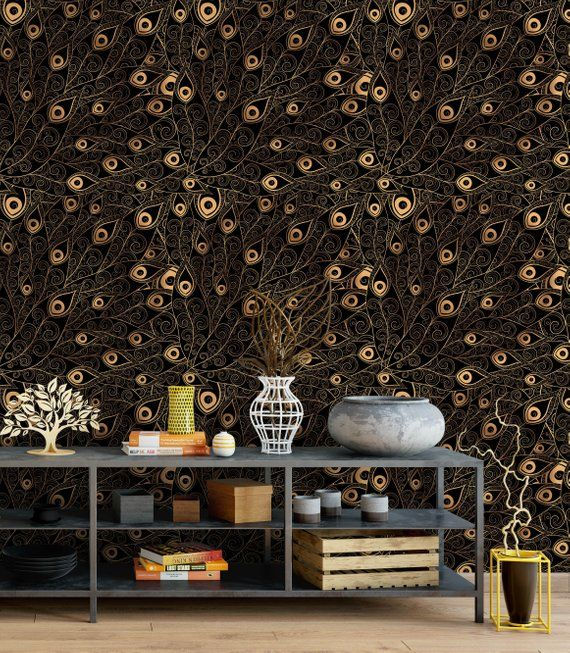 Self Adhesive Removable Wallpaper with Gold Black Peacock