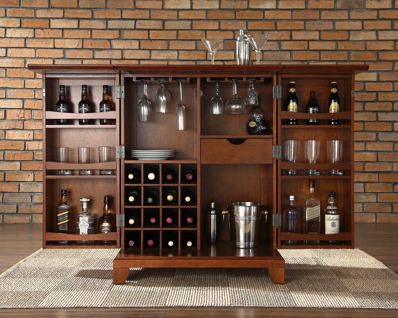 Crosley Furniture Kf40001cma Newport Expandable Bar Cabinet At Atg S