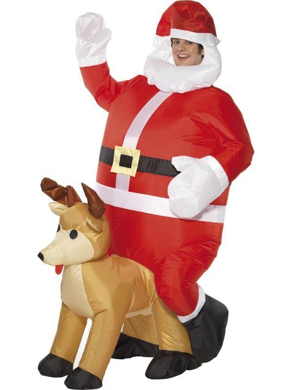 Christmas Fancy Dress Funny.Inflatable Santa Sat On Reindeer Costume Ef 31316