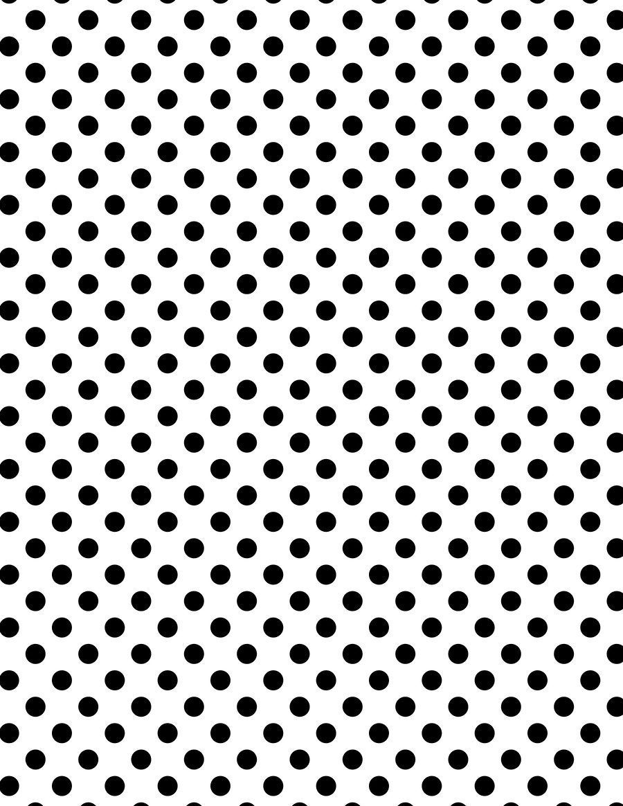 Black polka dots on a white background. I could print this