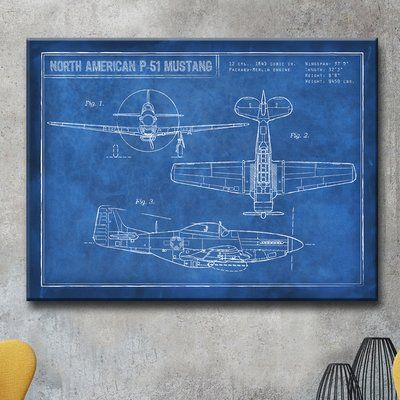 Trent austin design american p 51 blueprint framed graphic art trent austin design american p 51 blueprint framed graphic art print on wrapped canvas size 30 h x 40 w x 15 d graphic art and products malvernweather Choice Image