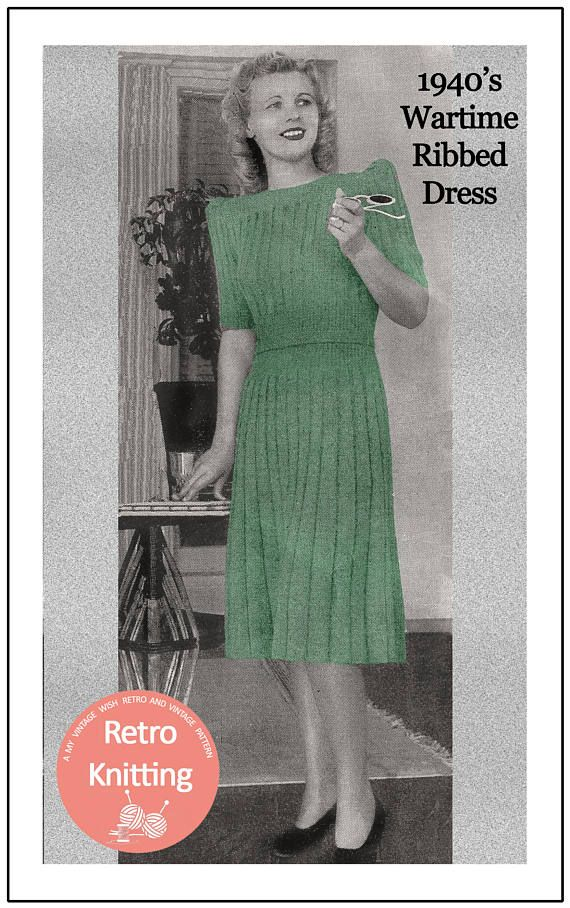 1940s Wartime Ribbed Dress Knitting Pattern - Instant Download - PDF ...