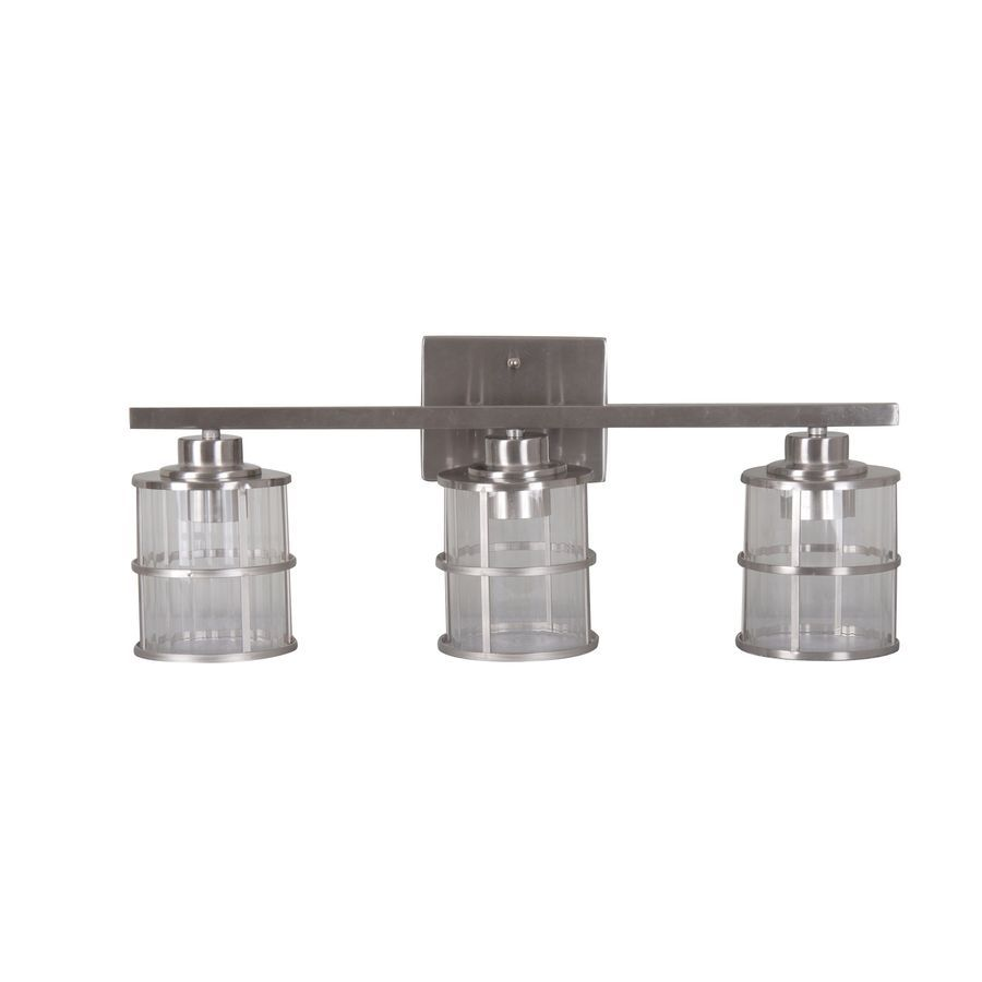 Nautical Bathroom Vanity Lights: Shop Allen + Roth 3-Light Satin Nickel Bathroom Vanity