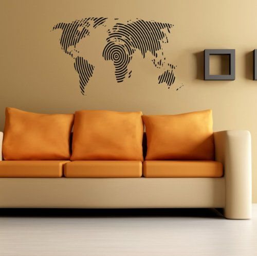World map wall vinyl decal art sticker home modern stylish interior world map wall vinyl decal art sticker home modern stylish interior decor for any room smooth gumiabroncs Images
