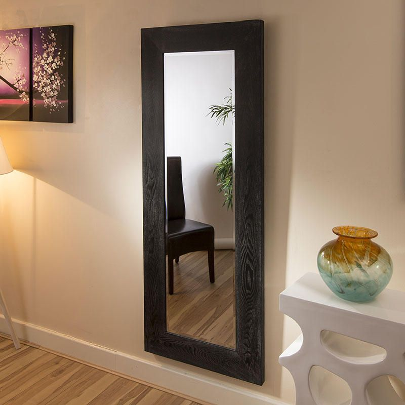 Beautiful Modern Tall Wall Mirror with Black Wooden Frame 70x180cm