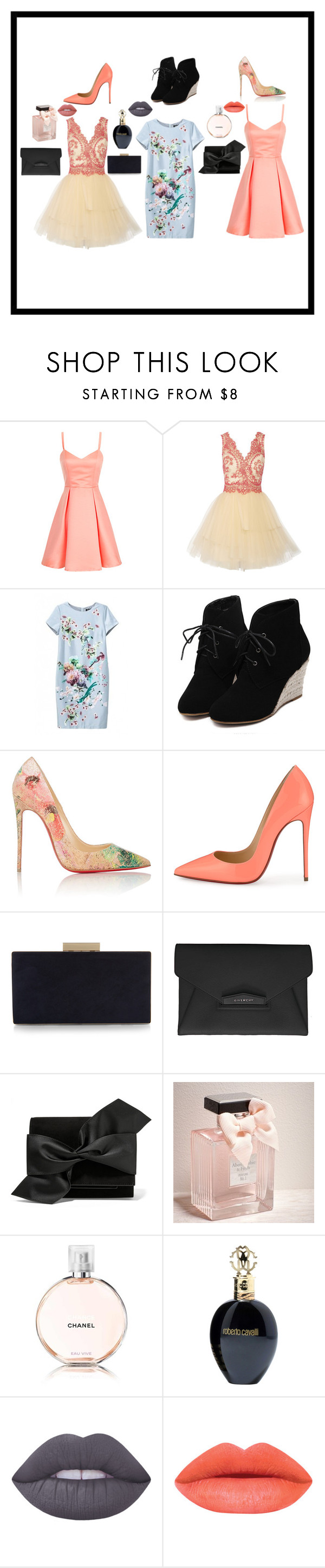 """""""Untitled #42"""" by dakotawillard ❤ liked on Polyvore featuring Notte by Marchesa, WithChic, Christian Louboutin, Monsoon, Givenchy, Victoria Beckham, Abercrombie & Fitch, Chanel, Roberto Cavalli and Lime Crime"""
