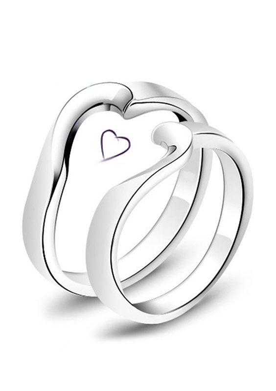 ef20d221d2 Half & Half Heart Promise Rings Set for Couples, Cheap Simple Heart Wedding  Rings in Sterling Silver, Matching His and Hers Jewelry Set for Girlfriend  and ...