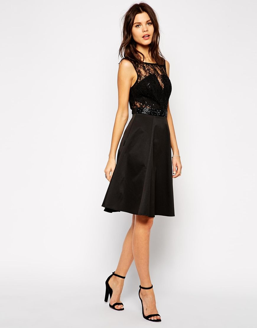 b244d4bbcd Lipsy Lace Midi Skater Dress With Embellished Waist  69.18