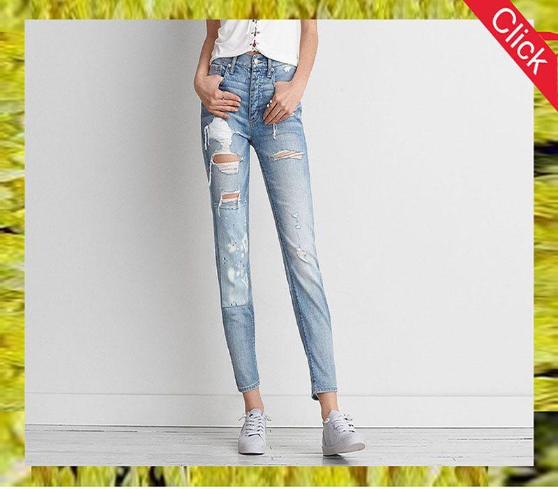 OEM new style high waist bule skinny jeans pants, uas xxx leggings