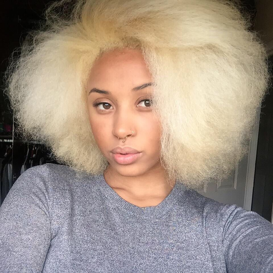 Black Girl With Blonde Hair Afro Blowout Hairstyle Light