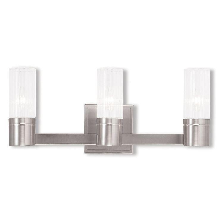 Photo of Livex Lighting Midtown 3-Light Wall Bathroom Fixture In Brushed Nickel With Glas…
