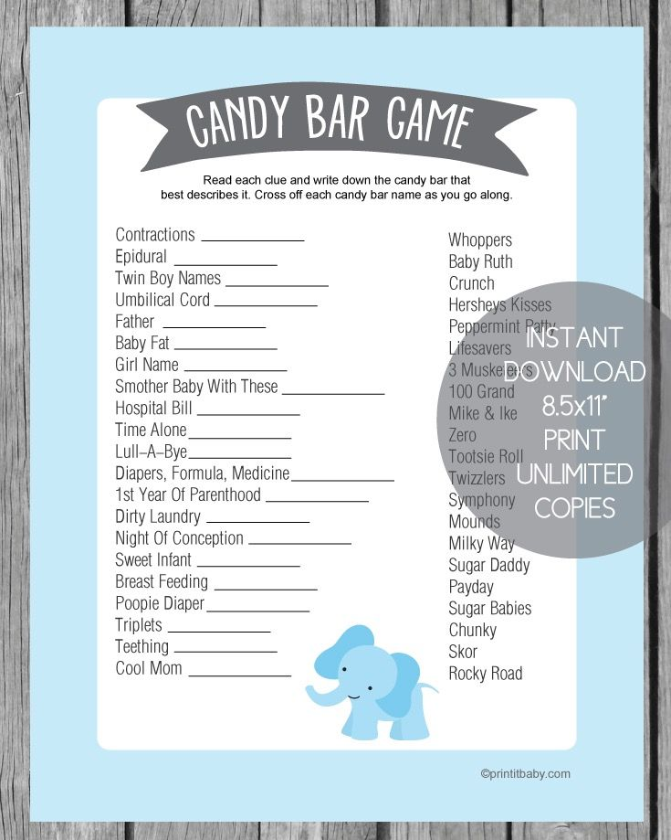 Baby Shower Candy Bar Game Blue Elephant Baby Shower Candy