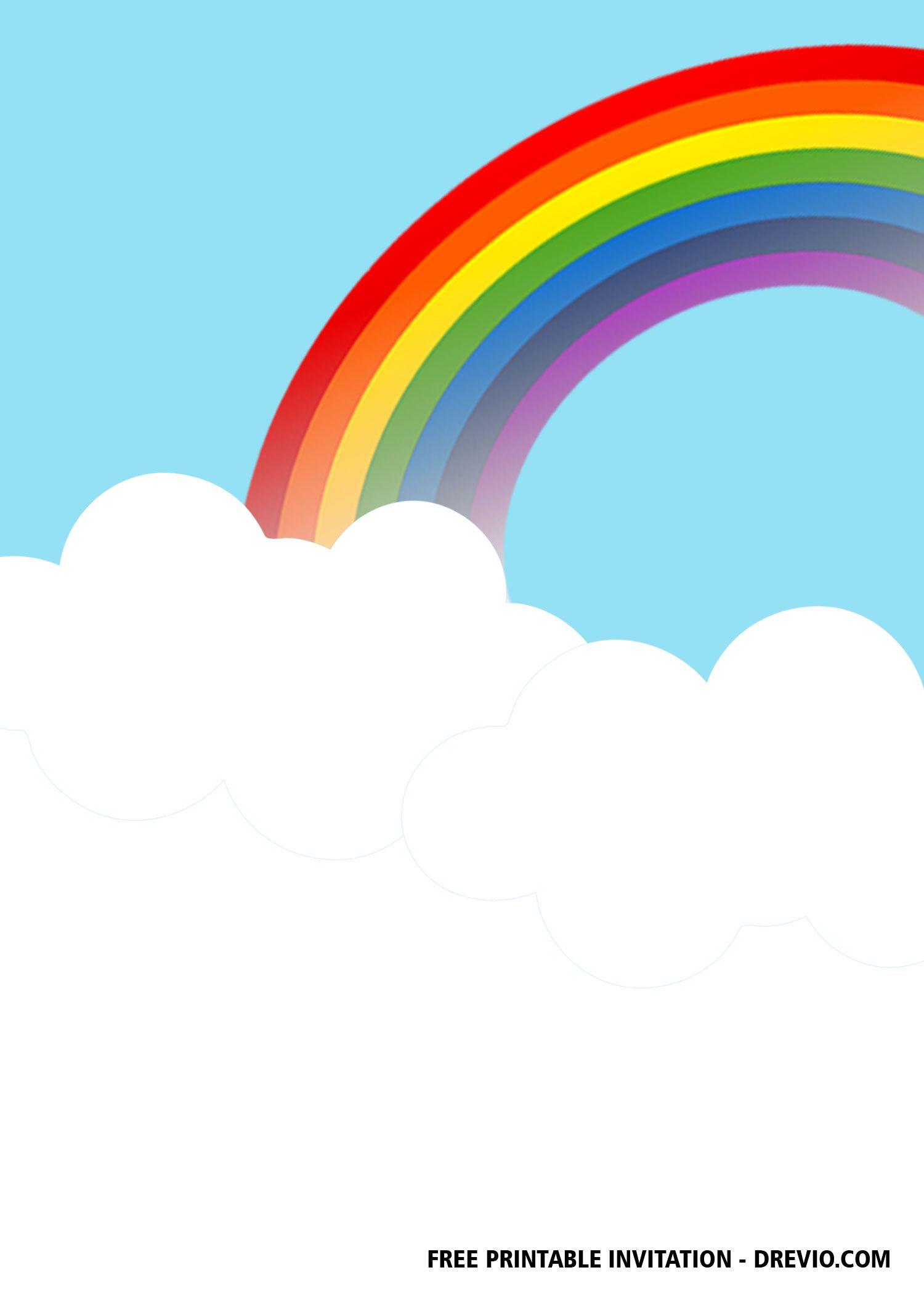 FREE Rainbow Party Invitation Templates  DREVIO  Party invite