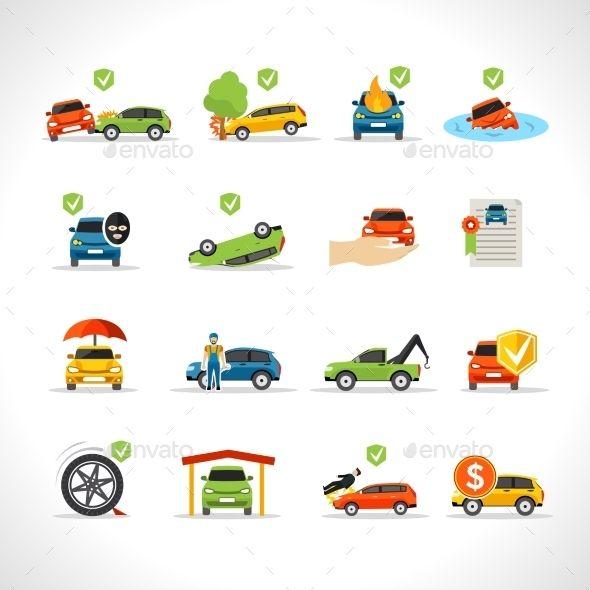 Car Insurance Icons Set Umbrella Insurance Car Insurance Car Icons