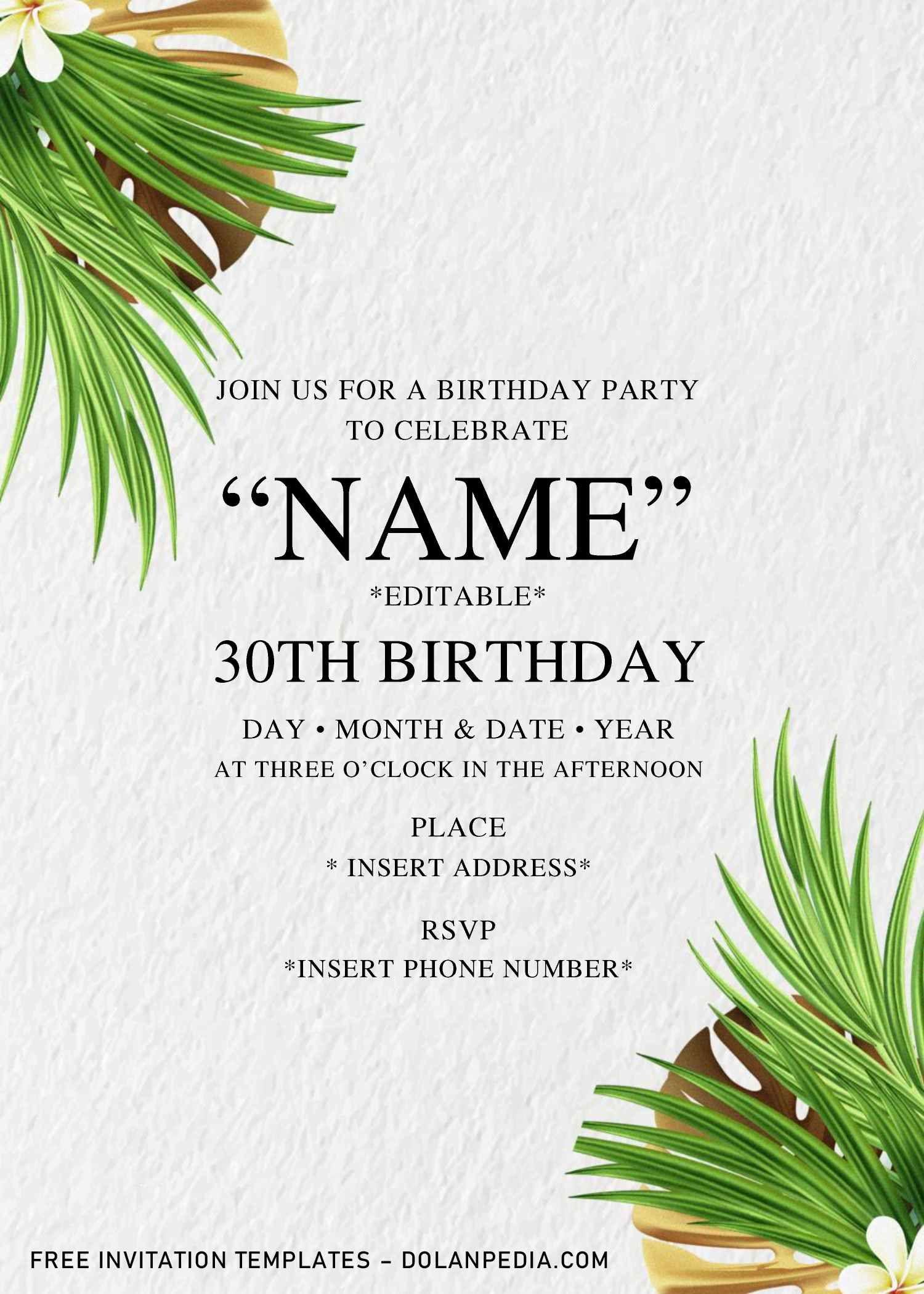 Greenery Birthday Invitation Templates Editable With Microsoft Word Birthday Invitation Templates Invitation Template Birthday Invitations Party invitation templates microsoft word